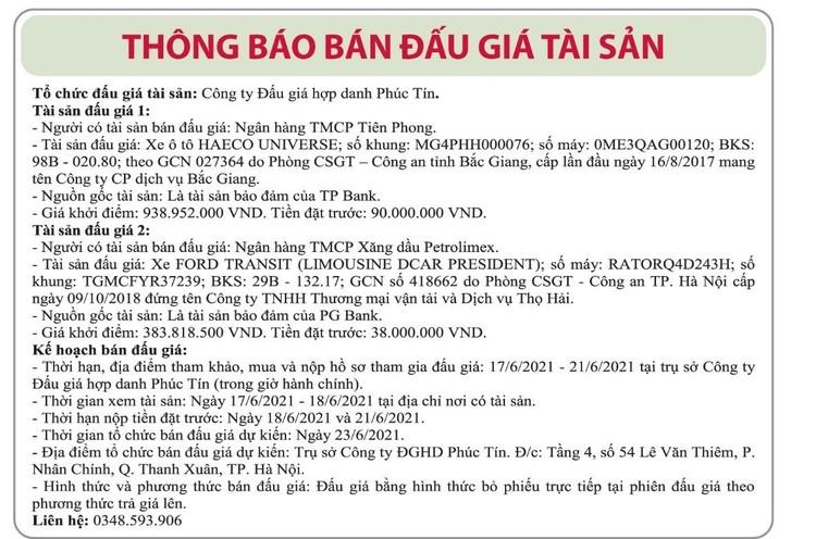 Ngày 23/6/2021, đấu giá 2 xe ô tô tại Hà Nội ảnh 1