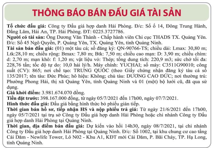 Ngày 8/7/2021, đấu giá tàu đánh cá vỏ thép tại tỉnh Quảng Ninh ảnh 1