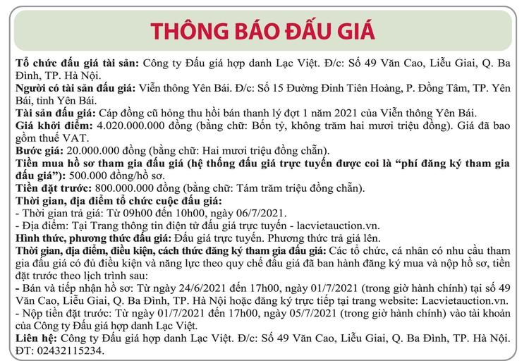 Ngày 6/7/2021, đấu giá cáp đồng cũ hỏng tại tỉnh Yên Bái ảnh 1