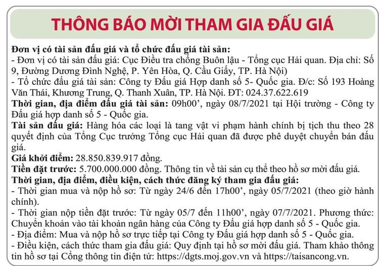 Ngày 8/7/2021, đấu giá tang vật vi phạm hành chính bị tịch thu tại Hà Nội ảnh 1
