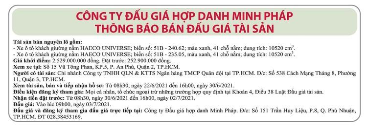 Ngày 3/7/2021, đấu giá 2 xe ô tô khách tại TP.HCM ảnh 1
