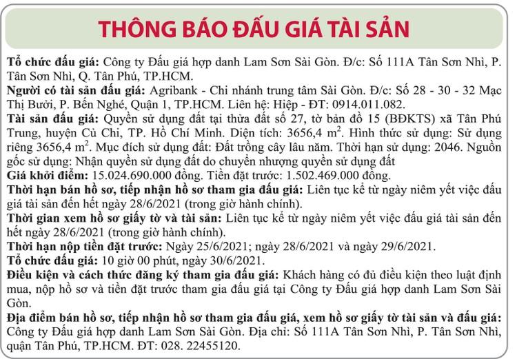 Ngày 30/6/2021, đấu giá quyền sử dụng đất tại huyện Củ Chi, TP.HCM ảnh 1