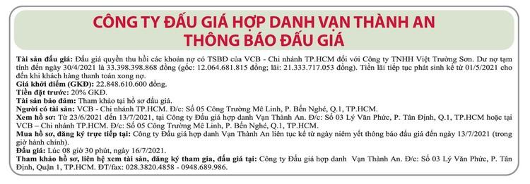 Ngày 16/7/2021, đấu giá quyền thu hồi các khoản nợ của VCB Chi nhánh TP.HCM đối với Công ty TNHH Việt Trường Sơn ảnh 1