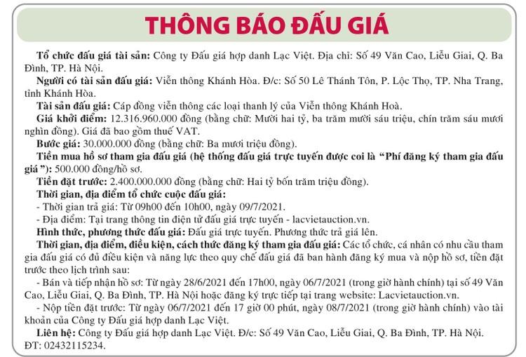 Ngày 9/7/2021, đấu giá cáp đồng viễn thông các loại tại tỉnh Khánh Hòa ảnh 1