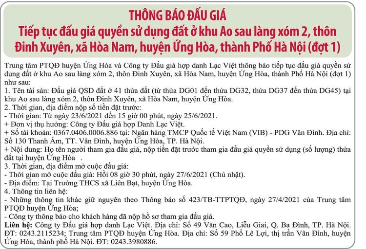 Ngày 27/6/2021, đấu giá quyền sử dụng đất tại huyện Ứng Hòa, Hà Nội ảnh 1