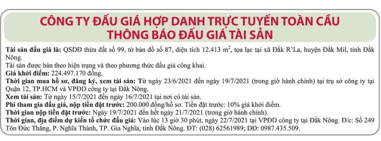 Ngày 22/7/2021, đấu giá quyền sử dụng đất tại huyện Đắk Mil, tỉnh Đắk Nông ảnh 1