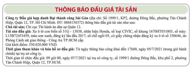Ngày 7/7/2021, đấu giá xe ô tô Honda tại TP.HCM ảnh 1