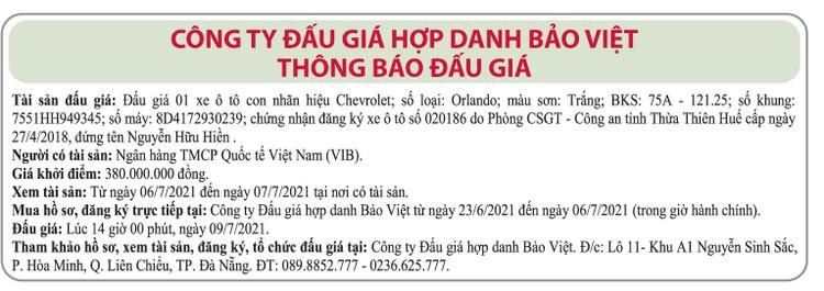 Ngày 9/7/2021, đấu giá xe ô tô Chevrolet tại thành phố Đà Nẵng ảnh 1