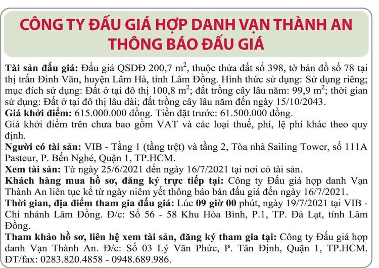 Ngày 19/7/2021, đấu giá quyền sử dụng đất tại huyện Lâm Hà, tỉnh Lâm Đồng ảnh 1