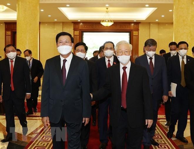 Chủ tịch nước Nguyễn Xuân Phúc chủ trì đón Tổng Bí thư, Chủ tịch Lào ảnh 2
