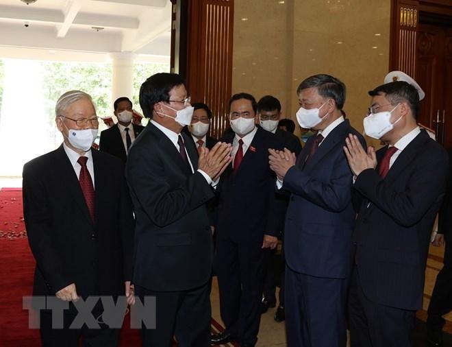 Chủ tịch nước Nguyễn Xuân Phúc chủ trì đón Tổng Bí thư, Chủ tịch Lào ảnh 3