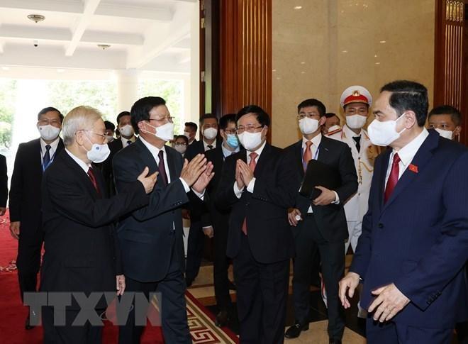 Chủ tịch nước Nguyễn Xuân Phúc chủ trì đón Tổng Bí thư, Chủ tịch Lào ảnh 4