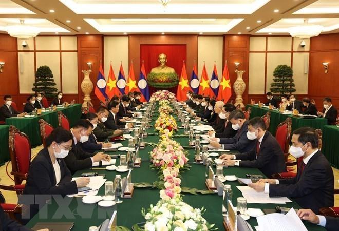 Chủ tịch nước Nguyễn Xuân Phúc chủ trì đón Tổng Bí thư, Chủ tịch Lào ảnh 6