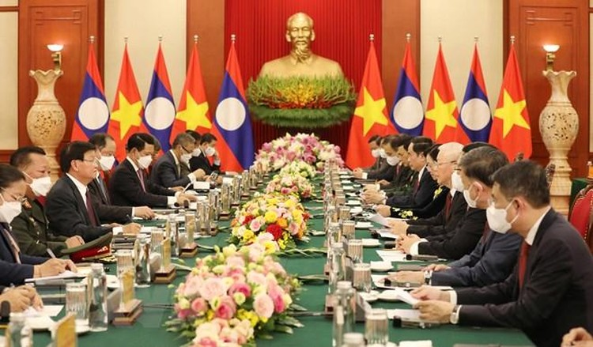 Chủ tịch nước Nguyễn Xuân Phúc chủ trì đón Tổng Bí thư, Chủ tịch Lào ảnh 7