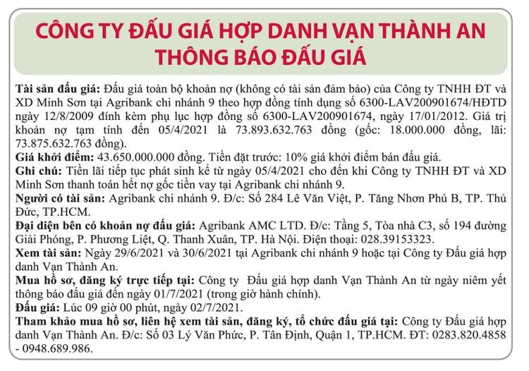 Ngày 2/7/2021, đấu giá toàn bộ khoản nợ của Công ty TNHH Đầu tư và Xây dựng Minh Sơn tại Agribank Chi nhánh 9 ảnh 1