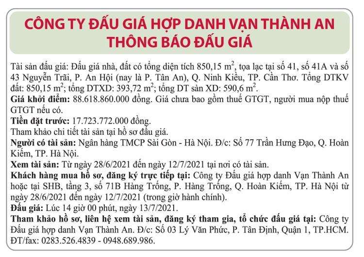 Ngày 13/7/2021, đấu giá quyền sử dụng đất tại quận Ninh Kiều, thành phố Cần Thơ ảnh 1