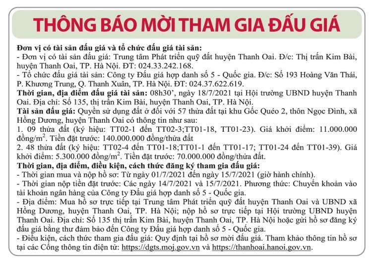 Ngày 18/7/2021, đấu giá quyền sử dụng đất tại huyện Thanh Oai, Hà Nội ảnh 1
