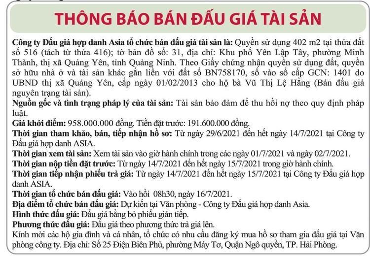 Ngày 16/7/2021, đấu giá quyền sử dụng đất tại thị xã Quảng Yên, tỉnh Quảng Ninh ảnh 1