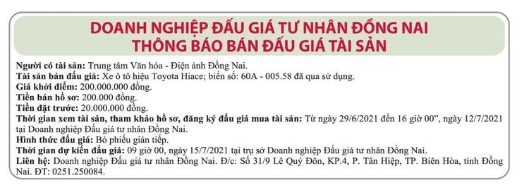 Ngày 15/7/2021, đấu giá xe ô tô Toyota tại tỉnh Đồng Nai ảnh 1