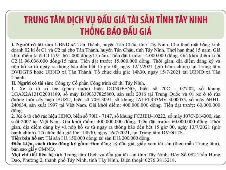 Ngày 16/7/2021, đấu giá cho thuê mặt bằng kinh doanh và xe ô tô xi téc, xe ô tô chở rác tại tỉnh Tây Ninh ảnh 1