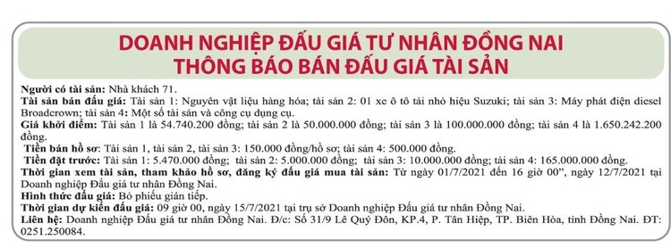 Ngày 15/7/2021, đấu giá nguyên vật liệu, xe ô tô tải nhỏ Suzuki tại tỉnh Đồng Nai ảnh 1
