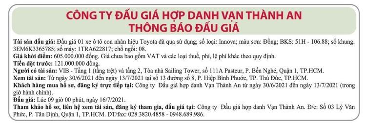 Ngày 16/7/2021, đấu giá xe ô tô Toyota tại TP.HCM ảnh 1