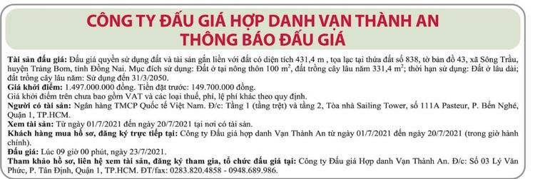 Ngày 23/7/2021, đấu giá quyền sử dụng đất tại huyện Trảng Bom, tỉnh Đồng Nai ảnh 1