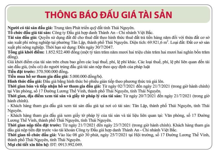 Ngày 25/7/2021, đấu giá quyền sử dụng đất tại thành phố Thái Nguyên, tỉnh Thái Nguyên ảnh 1