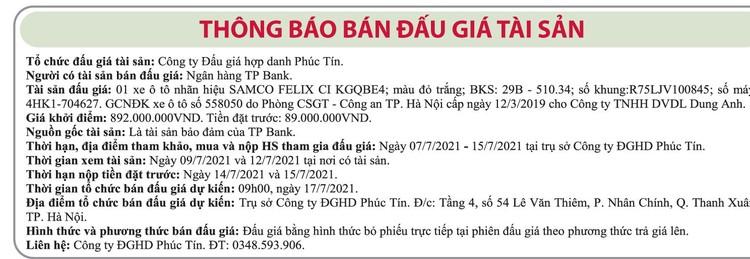 Ngày 17/7/2021, đấu giá xe ô tô Samco tại Hà Nội ảnh 1