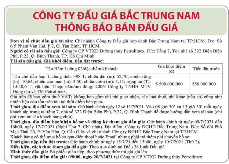 Ngày 20/7/2021, đấu giá tàu chở dầu Hàm Luông 02 tại TP.HCM ảnh 1