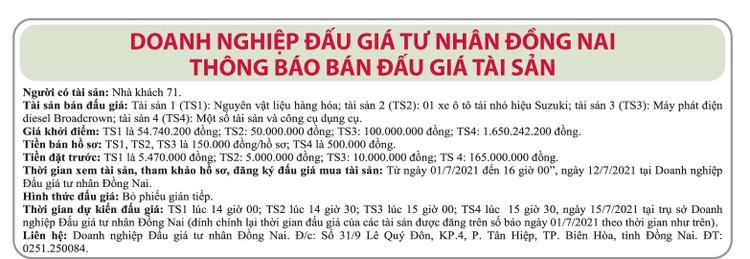 Ngày 15/7/2021, đấu giá nguyên vật liệu, hàng hóa, xe tải nhỏ suzuki tại tỉnh Đồng Nai ảnh 1