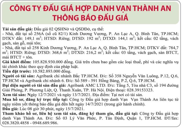 Ngày 15/7/2021, đấu giá quyền sử dụng đất tại quận Bình Tân, TP.HCM ảnh 1