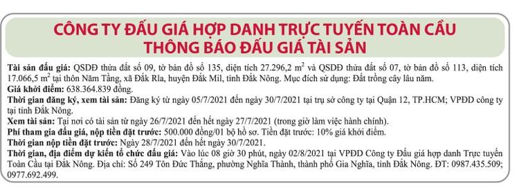 Ngày 2/8/2021, đấu giá quyền sử dụng đất tại huyện Đắk Mil, tỉnh Đắk Nông ảnh 1