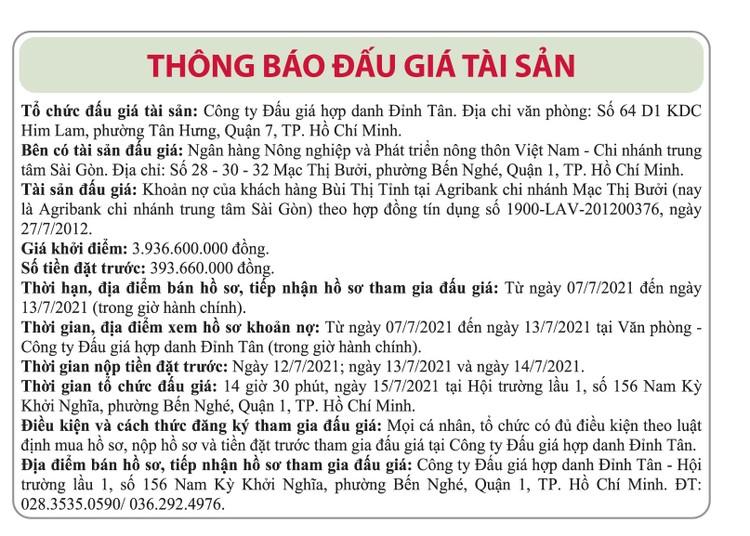 Ngày 15/7/2021, đấu giá khoản nợ của khách hàng Bùi Thị Tỉnh tại Agribank Chi nhánh trung tâm Sài Gòn ảnh 1