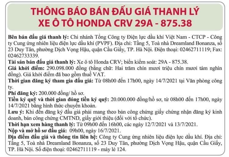 Ngày 16/7/2021, đấu giá xe ô tô hon da CRV tại Hà Nội ảnh 1