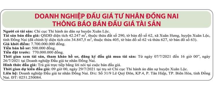 Ngày 29/7/2021, đấu giá quyền sử dụng đất tại huyện Xuân Lộc, tỉnh Đồng Nai ảnh 1