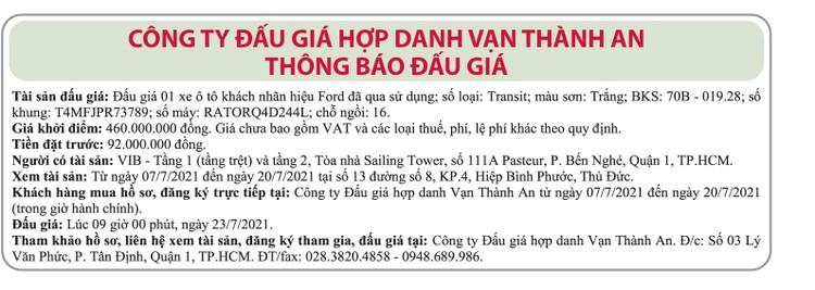 Ngày 23/7/2021, đấu giá xe ô tô FORD tại TP.HCM ảnh 1