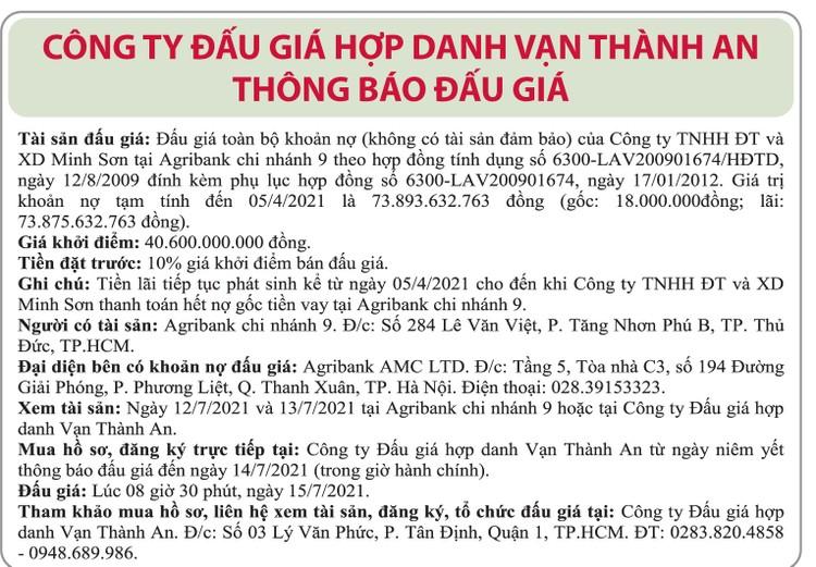 Ngày 15/7/2021, đấu giá toàn bộ khoản nợ của Công ty TNHH Đầu tư và Xây dựng Minh Sơn tại Agribank Chi nhánh 9 ảnh 1