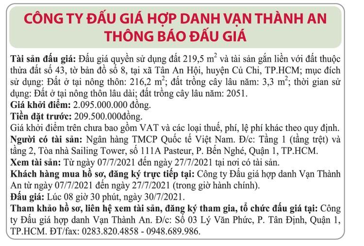 Ngày 30/7/2021, đấu giá quyền sử dụng đất tại huyện Củ Chi, TP.HCM ảnh 1