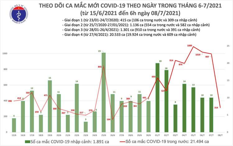Bản tin dịch COVID-19 sáng 8/7: Có thêm 314 ca mắc mới chia 2 tỉnh TP.HCM và Bình Dương ảnh 1