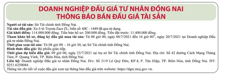 Ngày 23/7/2021, đấu giá xe ô tô Toyota tại tỉnh Đồng Nai ảnh 1