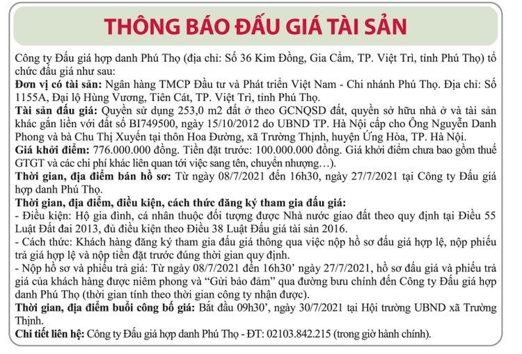 Ngày 30/7/2021, đấu giá quyền sử dụng đất tại huyện Ứng Hòa, Hà Nội ảnh 1
