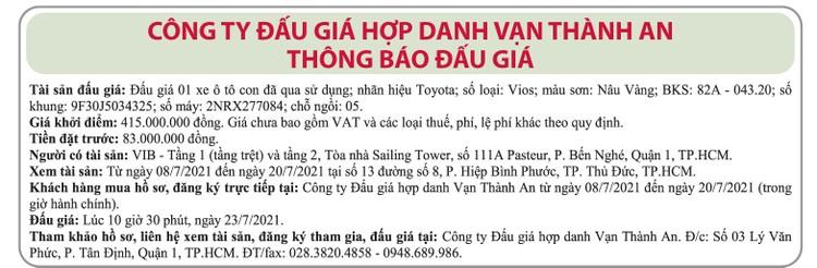 Ngày 23/7/2021, đấu giá xe ô tô Toyota tại TP.HCM ảnh 1