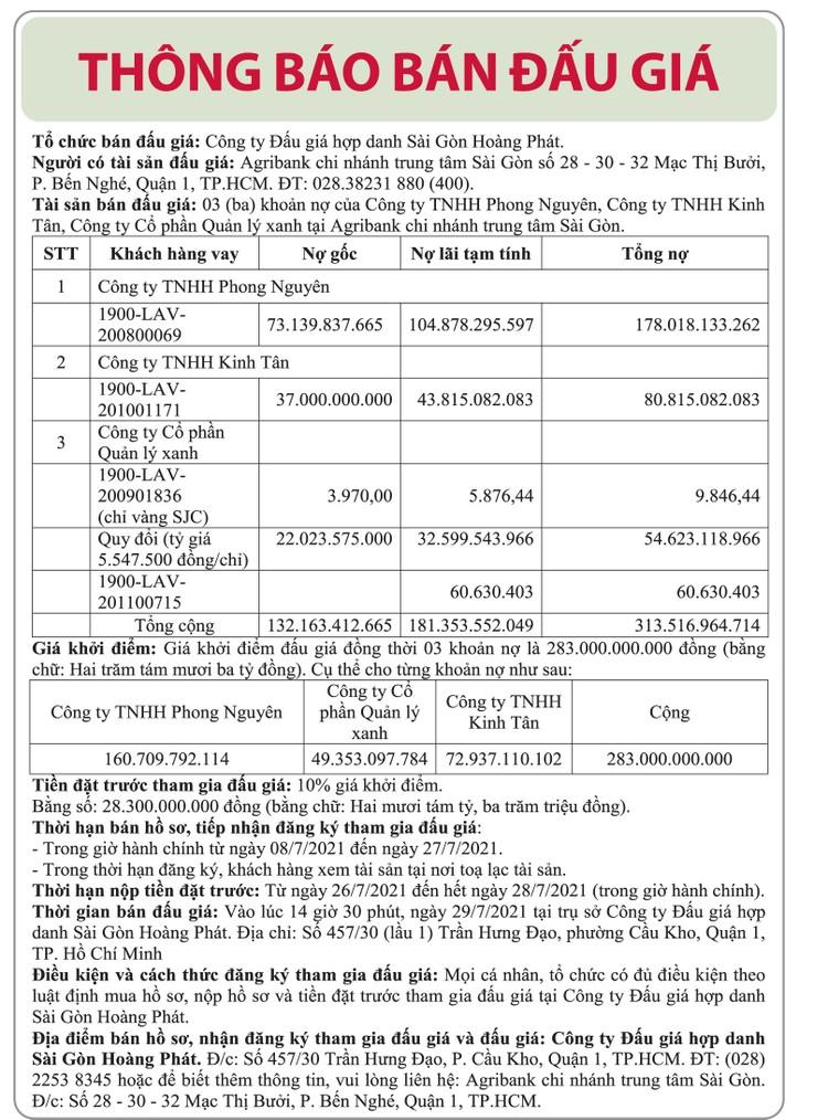 Ngày 29/7/2021, đấu giá 3 khoản nợ của Công ty Phong Nguyên, Kinh Tân và Quản lý xanh tại Agribank Chi nhánh trung tâm Sài Gòn ảnh 1