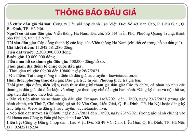 Ngày 26/7/2021, đấu giá cáp đồng thanh lý tại tỉnh Hà Nam ảnh 1