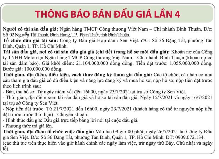 Ngày 26/7/2021, đấu giá khoản nợ của Công ty TNHH Melon tại Vietinbak Chi nhánh Bình Thuận ảnh 1