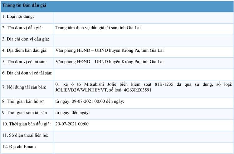 Ngày 29/7/2021, đấu giá xe ô tô Mitsubishi Jolie tại tỉnh Gia Lai ảnh 1