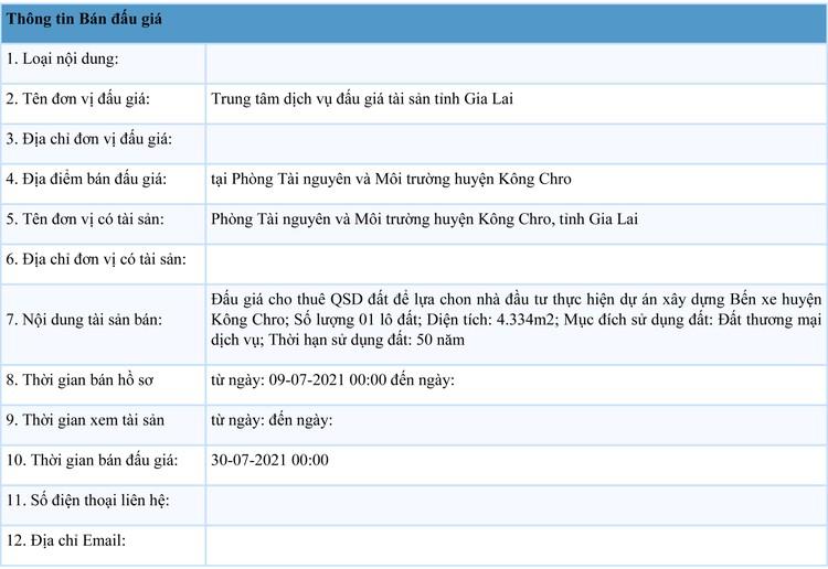 Ngày 30/7/2021, đấu giá quyền sử dụng đất tại huyện Kông Chro, tỉnh Gia Lai ảnh 1