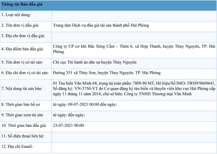 Ngày 23/7/2021, đấu giá tàu biển Văn Minh 68 tại thành phố Hải Phòng ảnh 1