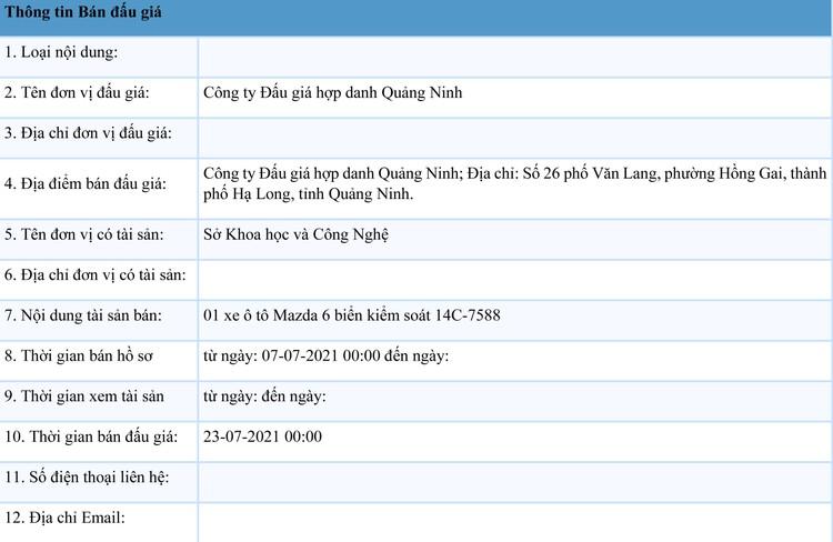 Ngày 23/7/2021, đấu giá xe ô tô Mazda 6 tại tỉnh Quảng Ninh ảnh 2